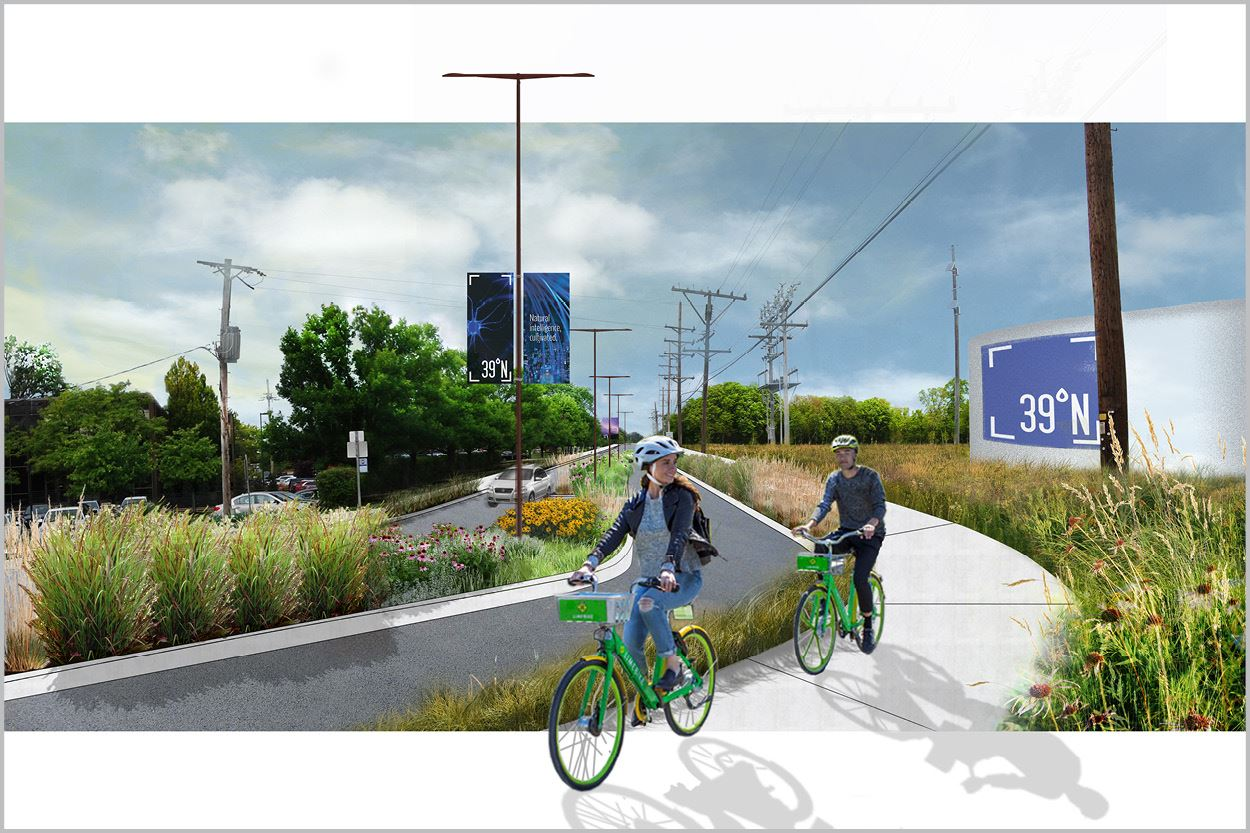 Old Olive Street Road Redesign Rendering