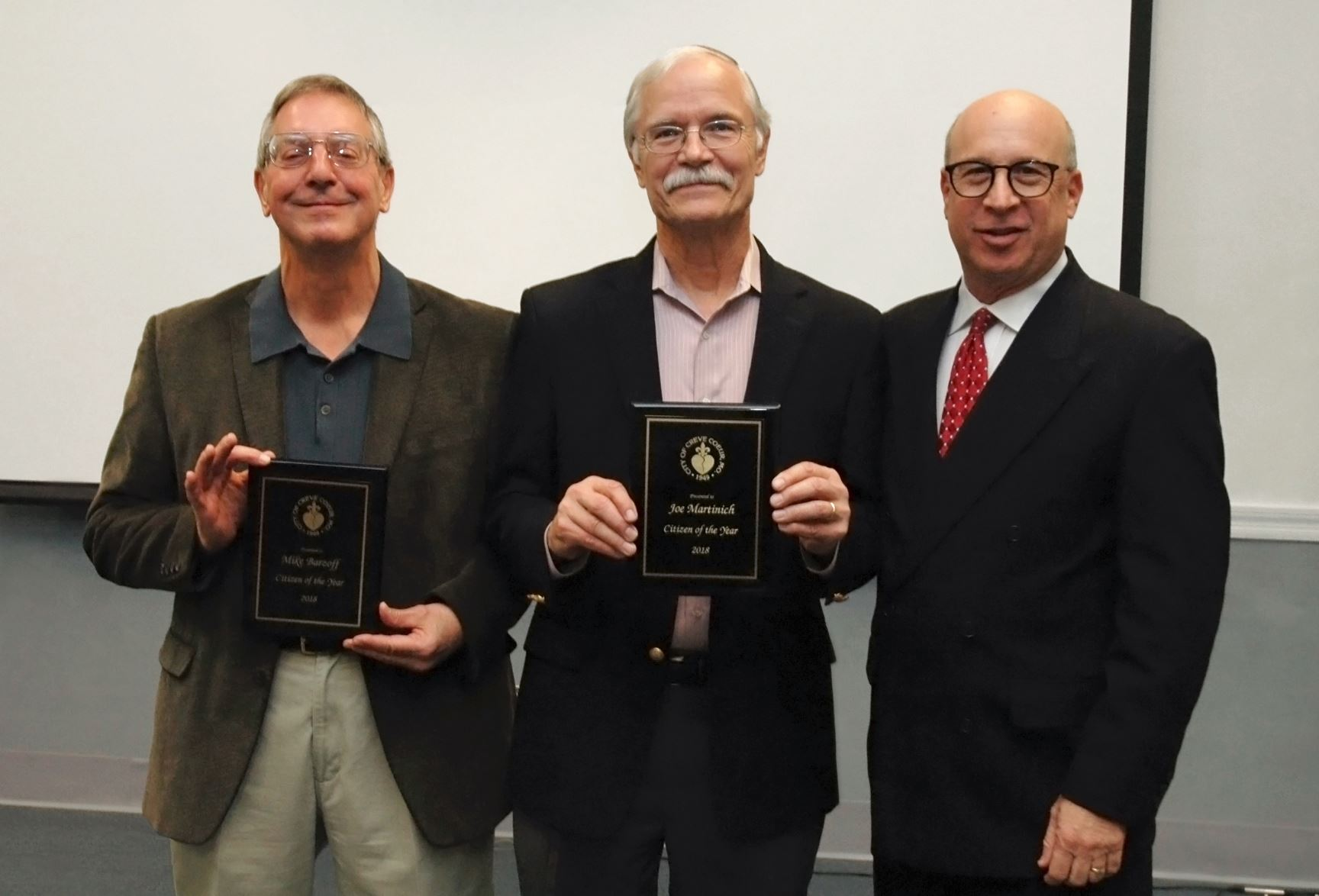 Citizens of the Year 2018 Mike Barzoff and Joe Martinich with Creve Coeur Mayor Barry Glantz