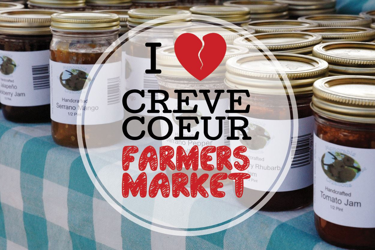 &#34I Love Creve Coeur Farmer&#39s Market&#34 text over image of handcrafted jams