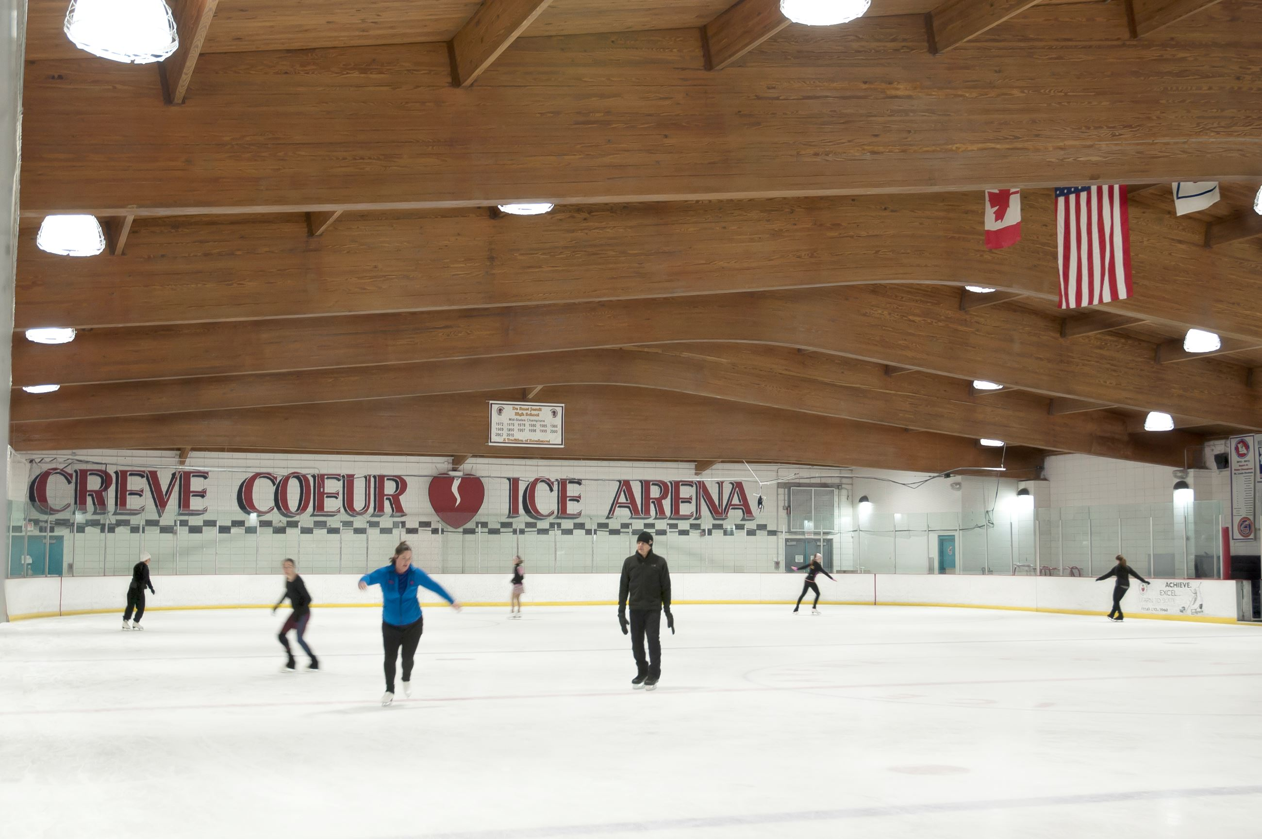 People skating at the ice arena