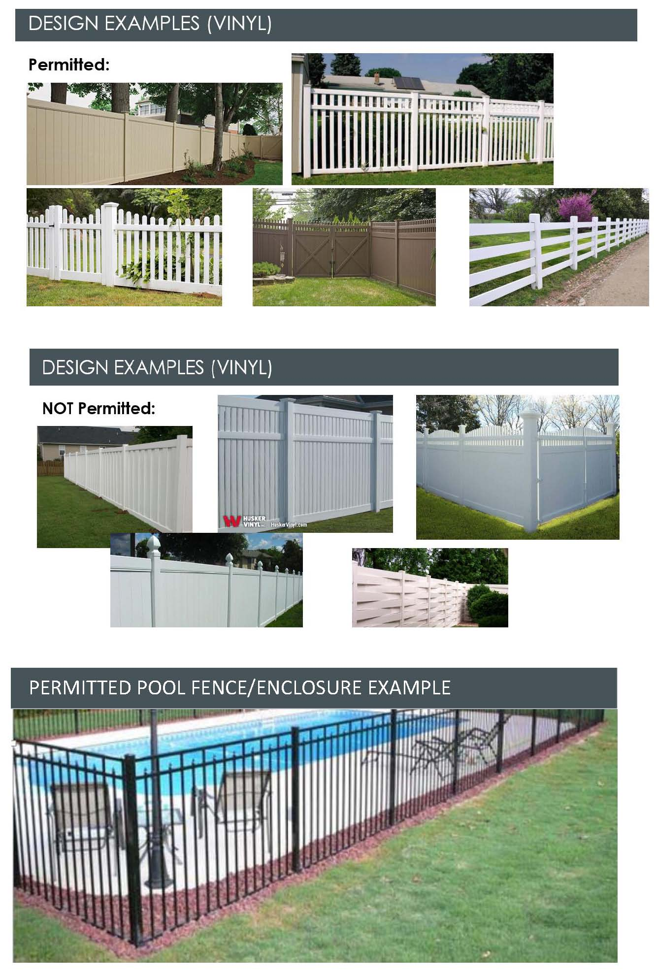 Fence Examples permitted & Not permitted