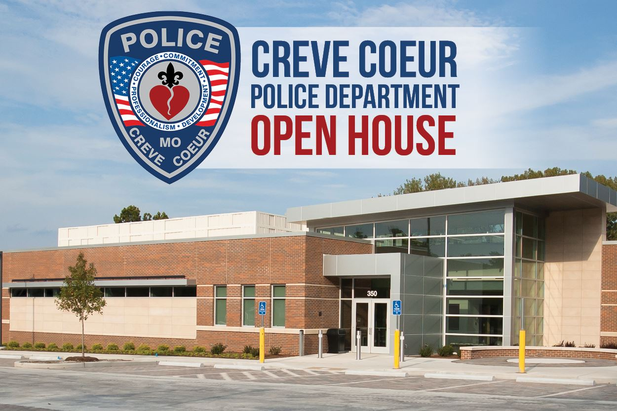 Front view of the new police station with overlay text: Creve Coeur Police Department Open House