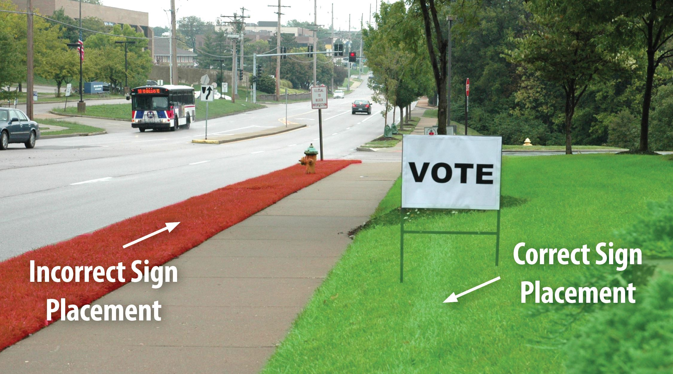 The right-of-way is incorrect placement for election signs.